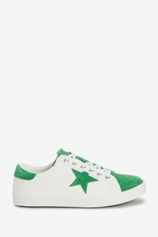 White/Green Extra Wide Fit Forever Comfort® Star Lace-Up Trainers