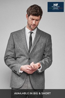 Grey Regular Fit Donegal Suit: Jacket