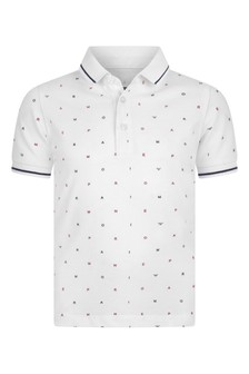 Boys White Cotton Logo Polo Top