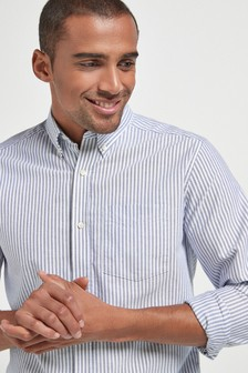 Blue/White Stripe Oxford Long Sleeve Shirt