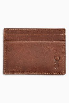 Tan Stag Embossed Leather Cardholder