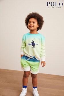 Ralph Lauren White Dip Dye Terry Shorts
