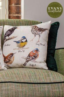 Species Hand Painted Birds Cushion by Evans Lichfield