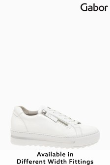 Gabor Heather White Leather Trainers