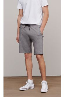 Grey Straight Fit Zip Pocket Jersey Shorts