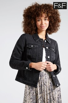 F&F Black Mid Denim Jacket