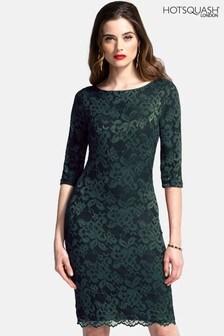 HotSquash Bottle Green Long Sleeved Lace Dress