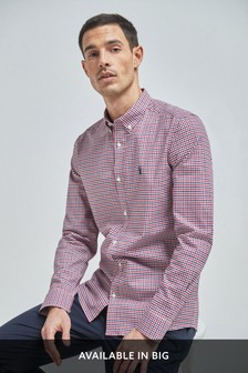 Red Slim Fit Gingham Long Sleeve Stretch Oxford Shirt
