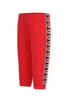 Baby Boys Red Cotton Logo Joggers
