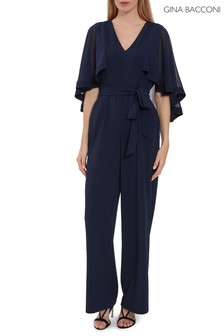 Gina Bacconi Blue Lydia Crepe And Chiffon Jumpsuit