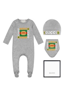 Baby Grey Cotton Babygrow, Bib And Hat Gift Set