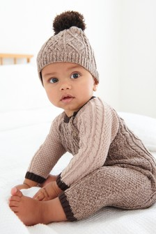 Chocolate Brown Cable Romper & Hat Set (0mths-2yrs)
