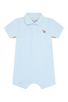 Paul Smith Junior Baby Boys Blue Cotton Romper Set