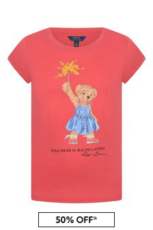 Girls Red Cotton Bear T-Shirt