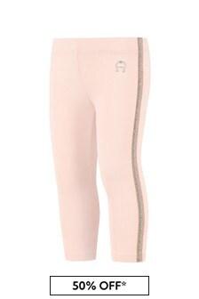 Aigner Baby Girls Pink Cotton Girls Leggings