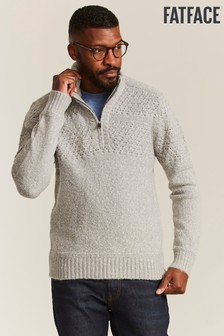 FatFace Grey Borden Stitch Half Neck Jumper