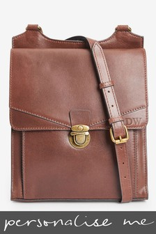 Personalised Leather Messenger Bag