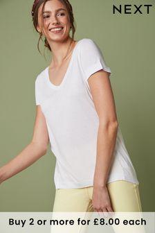 White Womens Slouch V-Neck T-Shirt