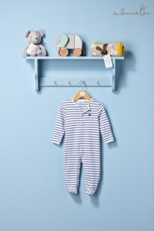 The Essential One Baby Boys Sleepsuit In White/Navy Stripe