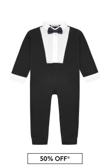 Baby Boys Black Cotton Romper