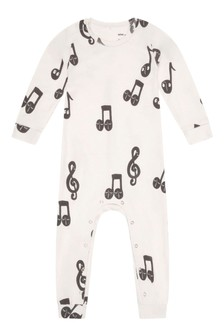 Baby Ivory Organic Cotton Notes Jumpsuit