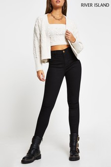 River Island Black Molly Mid Rise Jeans