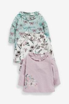 Lilac/Teal 3 Pack Long Sleeve T-Shirts (0mths-2yrs)