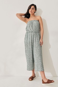 Green Bandeau Pull On Jumpsuit