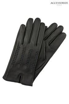 Accessorize Black Lattice Detail Leather Gloves