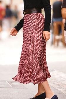 Red  Geometric Print Skirt