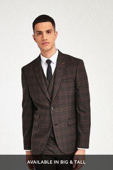 Brown/Orange Slim Fit Check Suit: Jacket