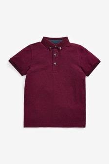 Plum Short Sleeve Two Tone Textured Collar Polo Shirt (3-16yrs)