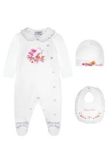 Monnalisa Baby Girls White Cotton Girls Baygrow Gift Set