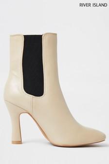 River Island Cream Gusset Fashion Boots