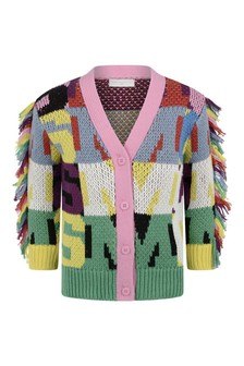 Girls Multicoloured Instarsia Letter Cardigan