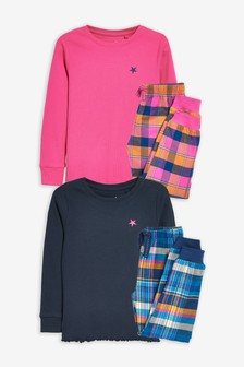 Bright Pink/Navy 2 Pack Check Bottom Pyjamas (3-16yrs)