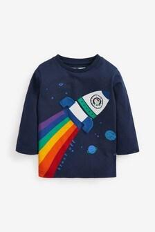 Navy Long Sleeve Appliqué T-Shirt (3mths-7yrs)