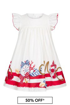 Monnalisa Baby Girls White Cotton Dress