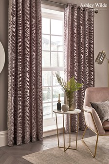 Ashley Wilde Copper Jovan Lined Eyelet Curtains