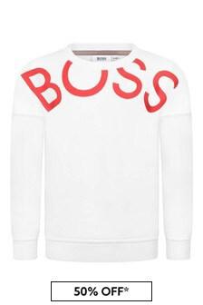 Girls White Logo Sweater