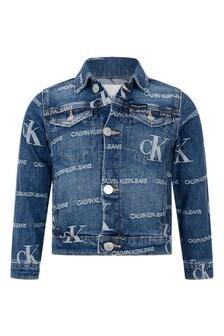Calvin Klein Jeans Girls Blue Cotton Denim Logo Jacket