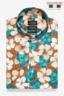 Rust Floral Slim Fit Short Sleeve Italian Fabric Texta Signature Shirt