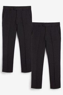 Charcoal Regular Fit Trousers 2 Pack