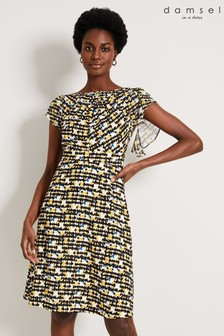 Damsel In A Dress Yellow Bari Printed Dress