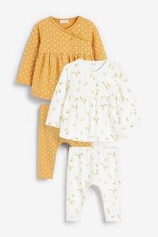 Ochre/Cream 4 Pack Lemon And Spot Print Top And Leggings Set (0mths-2yrs)