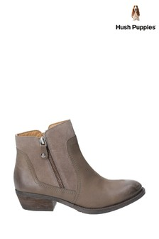 Hush Puppies Brown Isla Zip Up Ankle Boots