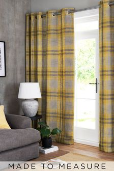 Astley Check Gold Made To Measure Curtains