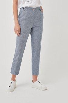 Cotton/Linen Mix Peg Trousers