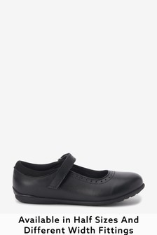 Black Wide Fit (G) Leather Mary Jane Brogues