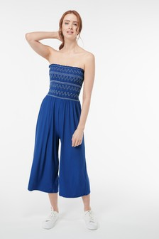 Blue Embroidered Shirred Jumpsuit